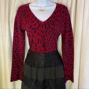 INC • Leopard Print V Neck Sweater Bell Sleeves